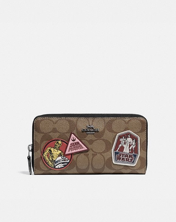 Coach STAR WARS X COACH ACCORDION ZIP WALLET IN SIGNATURE CANVAS WITH PATCHES