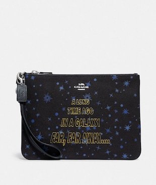 STAR WARS X COACH GALLERY POUCH WITH STARRY PRINT AND SCROLL PRINT