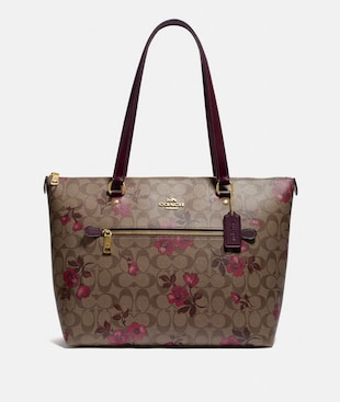 GALLERY TOTE IN SIGNATURE CANVAS WITH VICTORIAN FLORAL PRINT