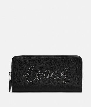 ACCORDION ZIP WALLET WITH STUDDED COACH SCRIPT