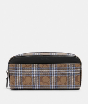 DOPP KIT IN SIGNATURE CANVAS WITH SHIRTING PLAID PRINT