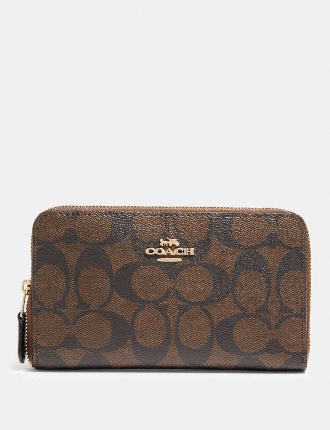 Coach Medium Zip Around Wallet in Signature Canvas Im/Brown/Black Accessories Wallets