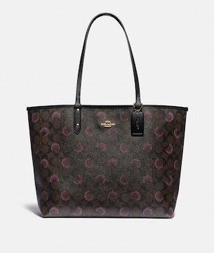 REVERSIBLE CITY TOTE IN SIGNATURE CANVAS WITH MOON PRINT