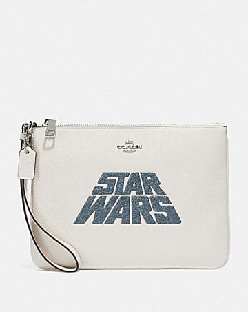 star wars x coach gallery pouch with glitter motif