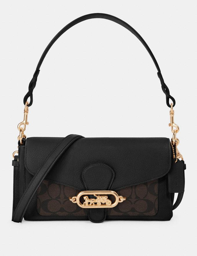 Coach Small Jade Shoulder Bag With Signature Canvas Detail Im/Brown Black