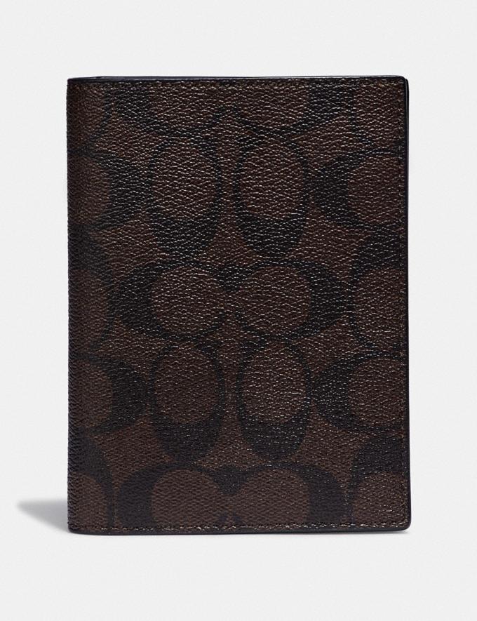 Coach Passport Case in Signature Canvas Mahogany/Black/Black Antique Nickel Explore Men Explore Men Accessories