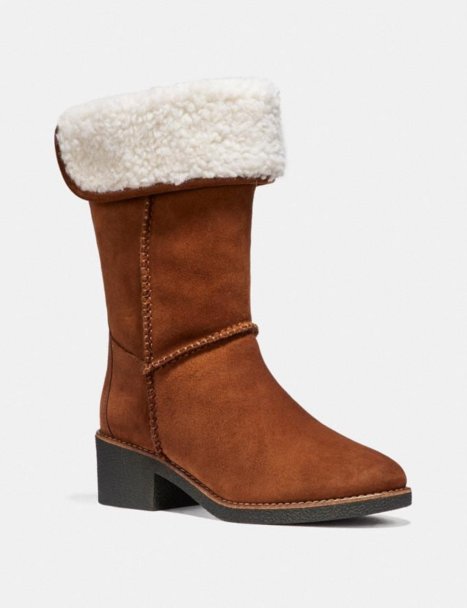 Coach Turnlock Shearling Boot Saddle Friends & Family Sale Women's Shoes