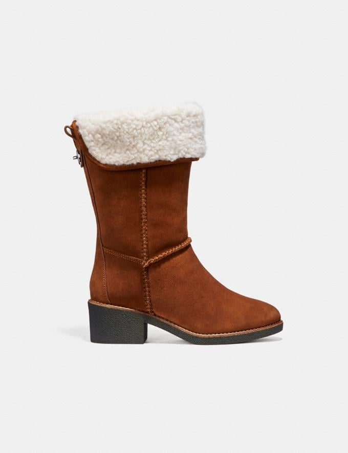 Coach Turnlock Shearling Boot Saddle Friends & Family Sale Women's Shoes Alternate View 1