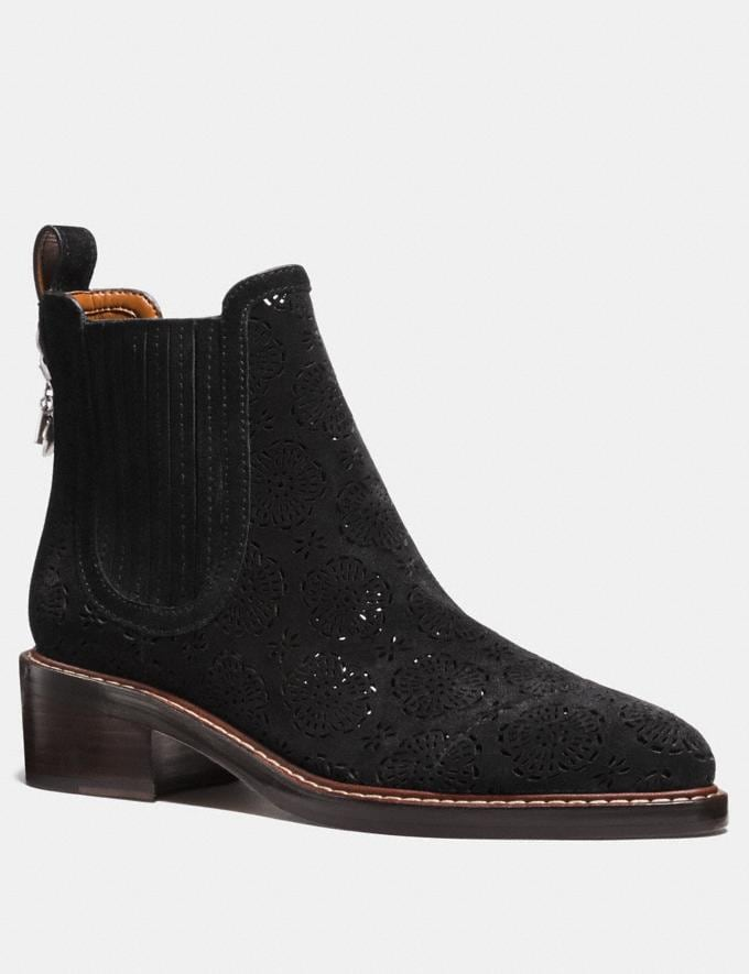 Coach Bowery Chelsea Boot With Cut Out Tea Rose Black