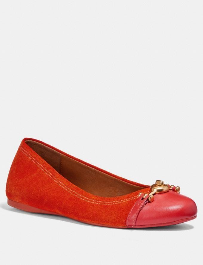 Coach Leila Ballet Orange Red Friends & Family Sale Women's Shoes