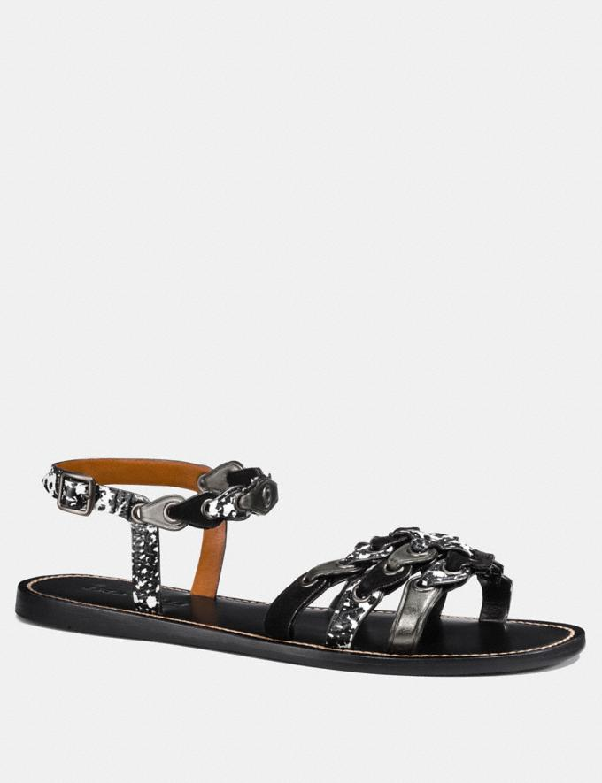Coach Sandal With Coach Link Black/Black White/Gunmetal