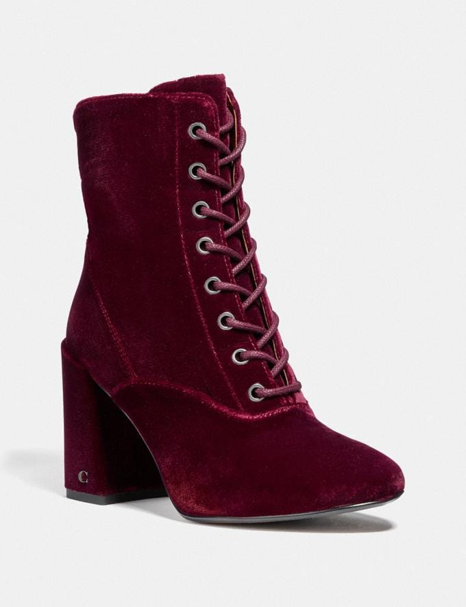 Coach Edie Lace Up Bootie Wine DEFAULT_CATEGORY