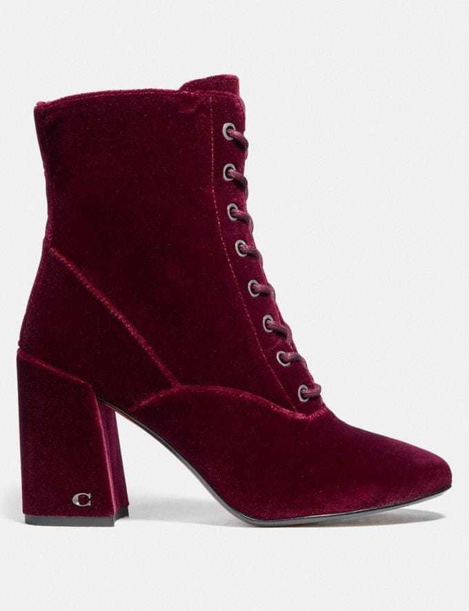 Coach Edie Lace Up Bootie Wine DEFAULT_CATEGORY Alternate View 1