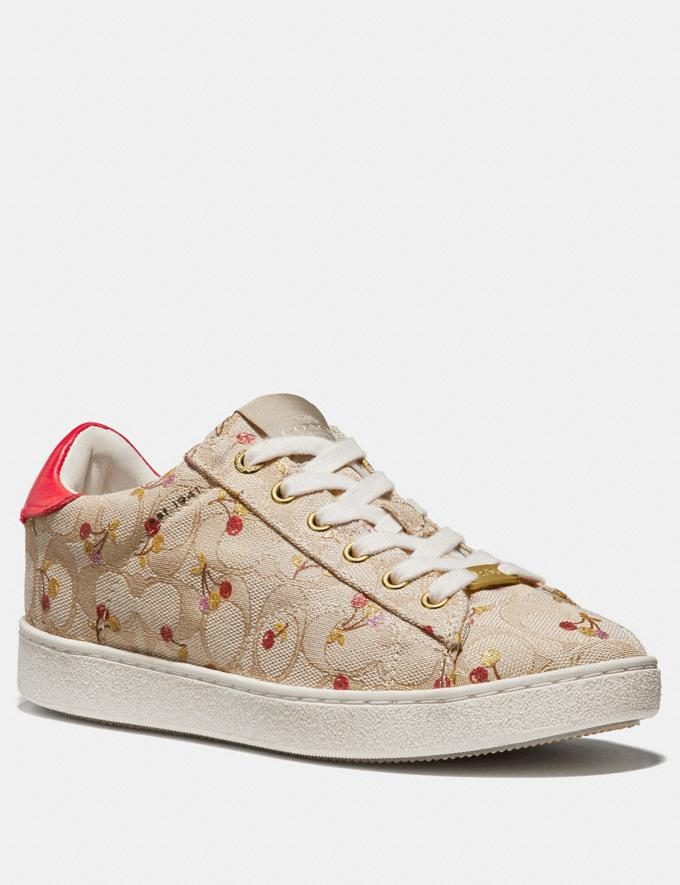 Coach C126 Low Top Sneaker With Cherry Print Khaki/Red Friends & Family Sale Women's Shoes