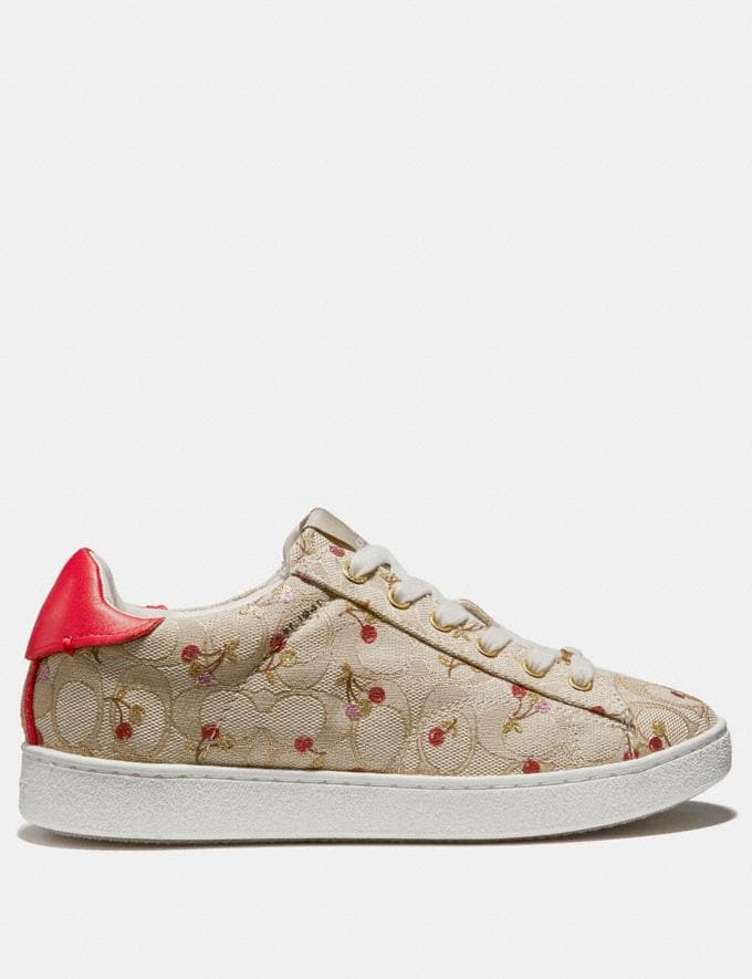 Coach C126 Low Top Sneaker With Cherry Print Khaki/Red Friends & Family Sale Women's Shoes Alternate View 1
