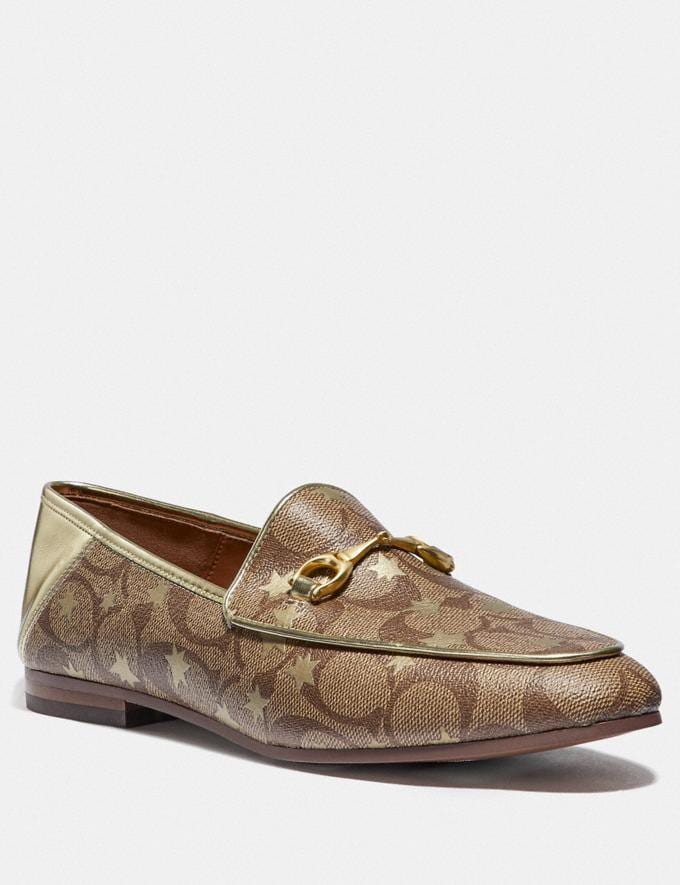 Coach Haley Loafer With Star Print Khaki/Gold