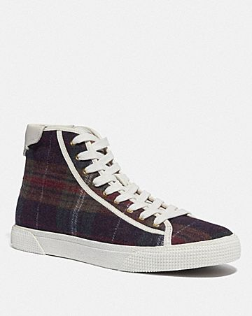 c207 high top sneaker with plaid print