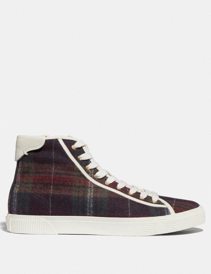 Coach C207 High Top Sneaker With Plaid Print Green Plaid  Alternate View 1