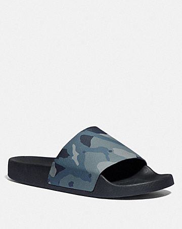 coach slide with camo print