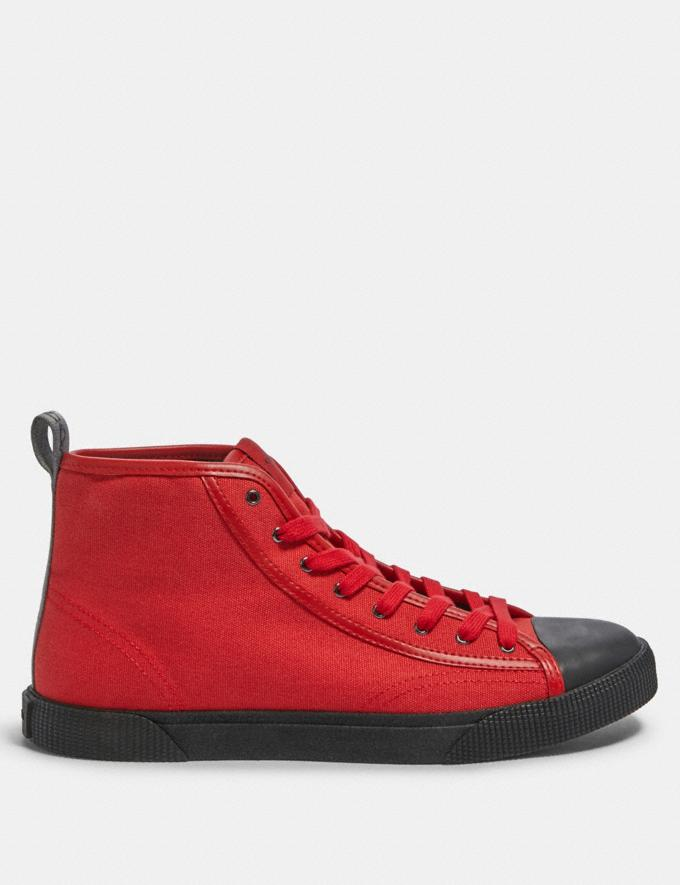 Coach C207 High Top Sneaker With Coach Patch Sport Red Black