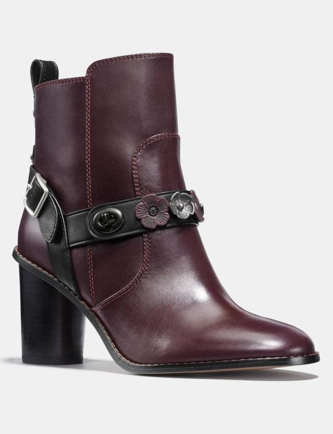 Coach Moto Bootie Heel Oxblood Black Women Shoes Boots