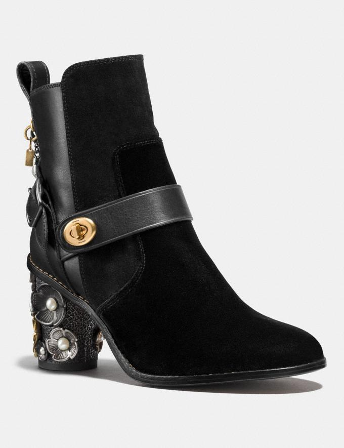Coach Moto Bootie Heel Black/Black Women Shoes Boots