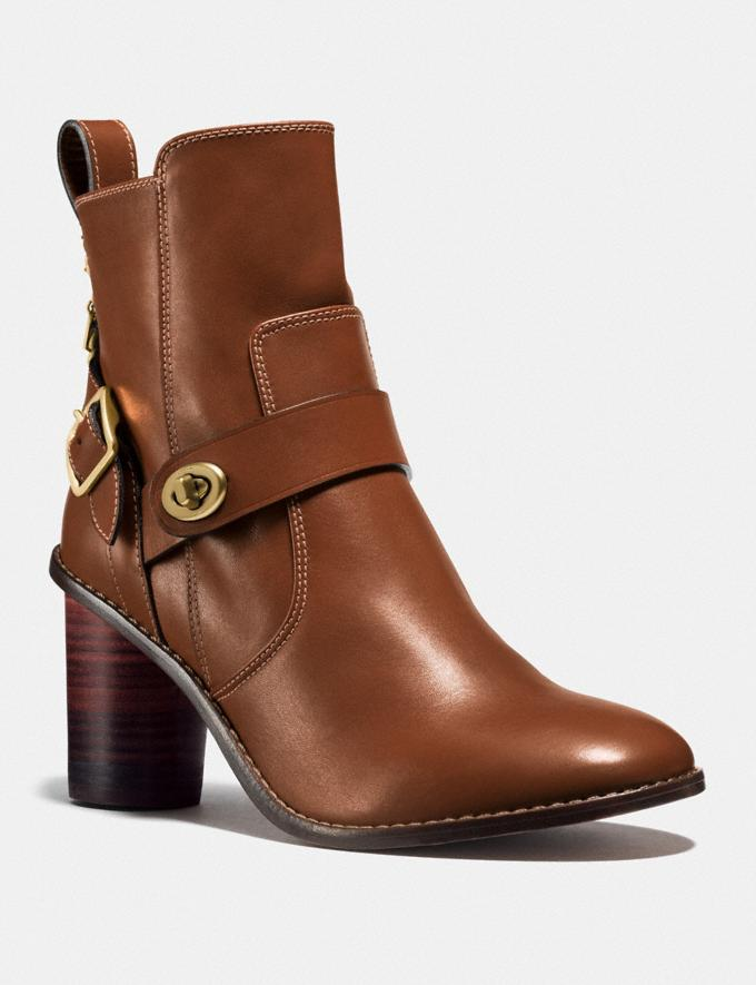 Coach Moto Bootie Heel Dark Saddle Women Shoes Boots