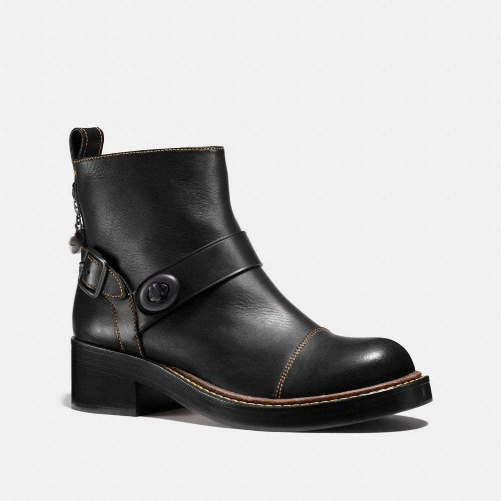 Coach Studded Patent Leather Ankle Boots
