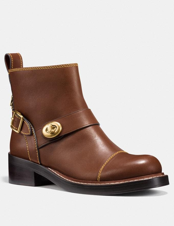 Coach Moto Bootie Dark Saddle