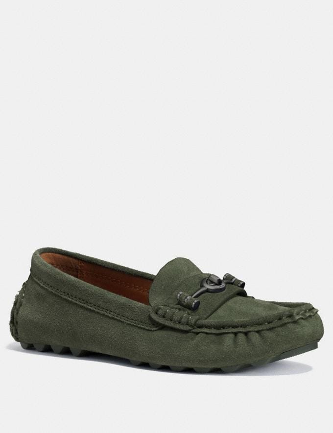Coach Crosby Driver Olive Women Shoes Flats