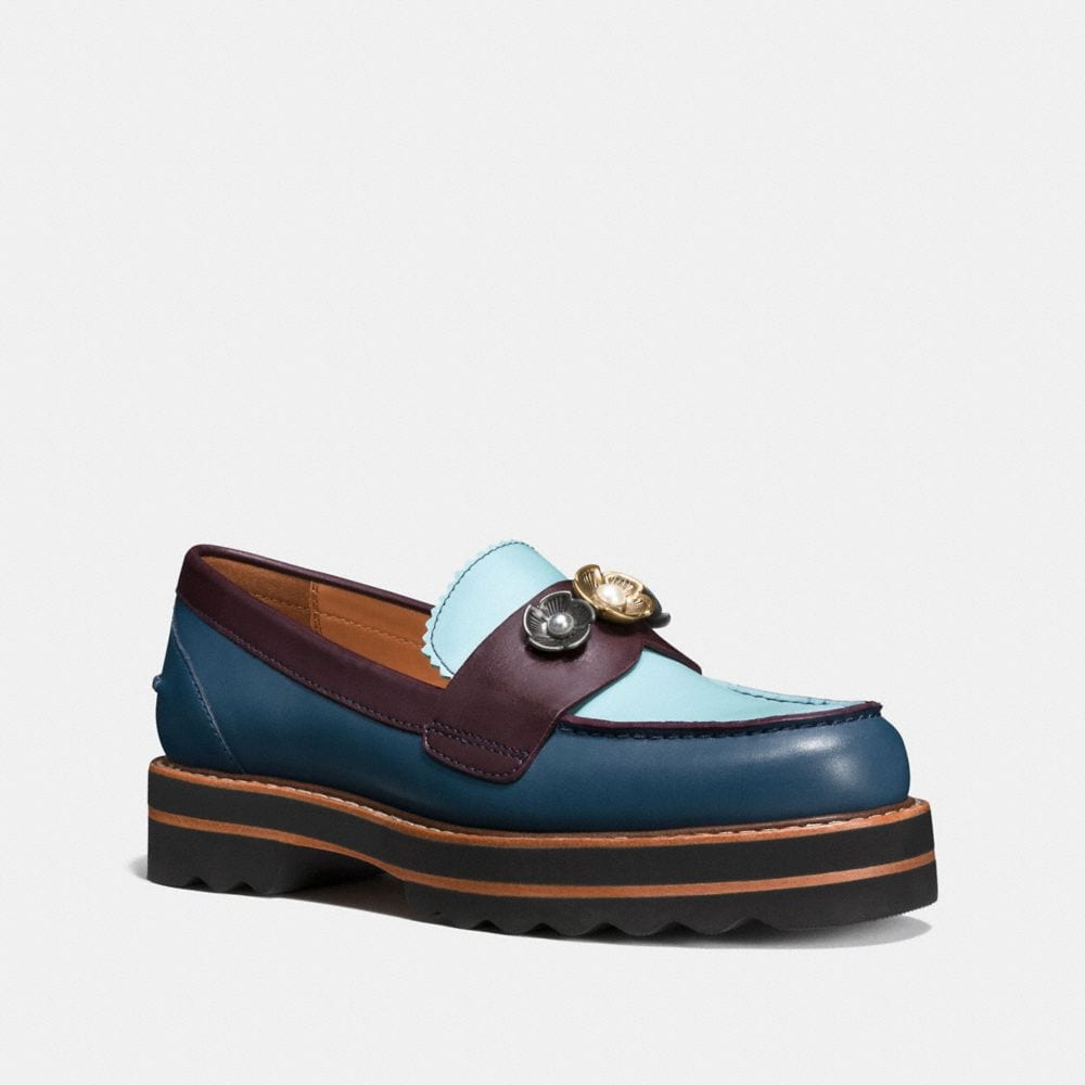 Coach Lenox Loafers In Dark Denim/steel Blue