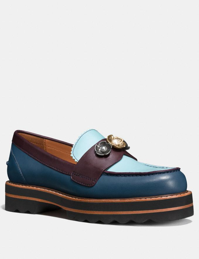 Coach Lenox Loafer Dark Denim/Steel Blue CYBER MONDAY SALE Women's Sale 50 Percent Off