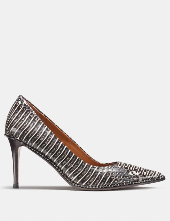 Coach Beadchain Pump in Snakeskin Black White Friends & Family Sale Women's Shoes Alternate View 1
