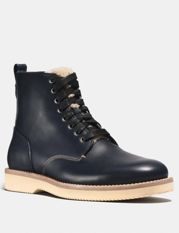 Coach Derby Boot With Shearling Midnight Navy Men Shoes Boots