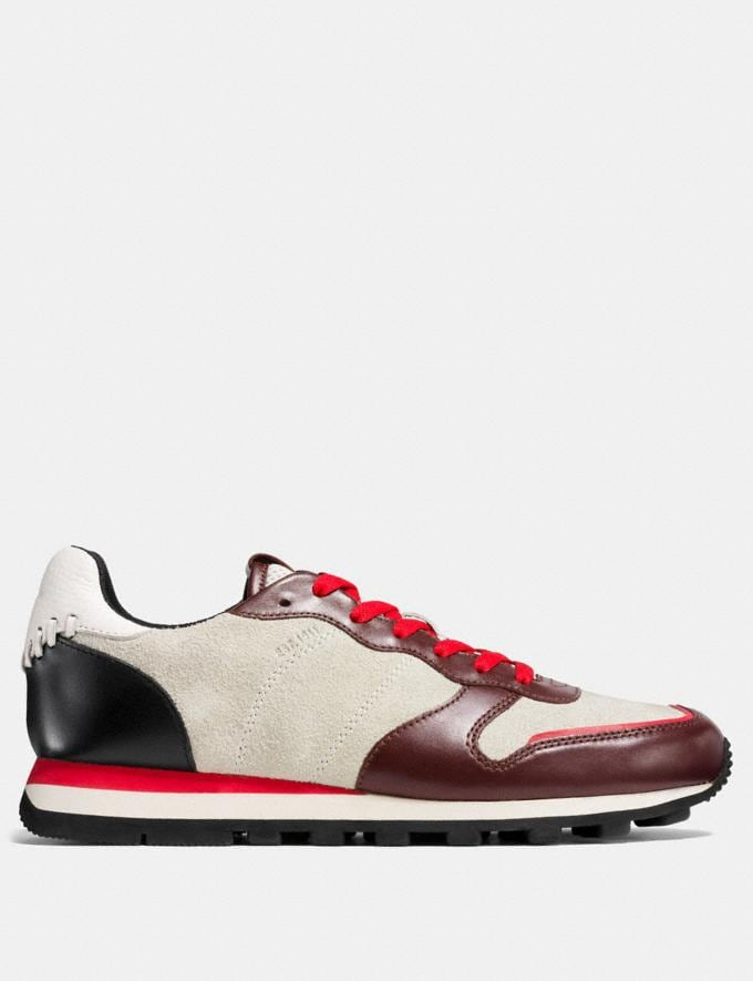 Coach C118 in Hairy Suede and Leather Currant/Chalk/Black Men Shoes Sneakers Alternate View 1