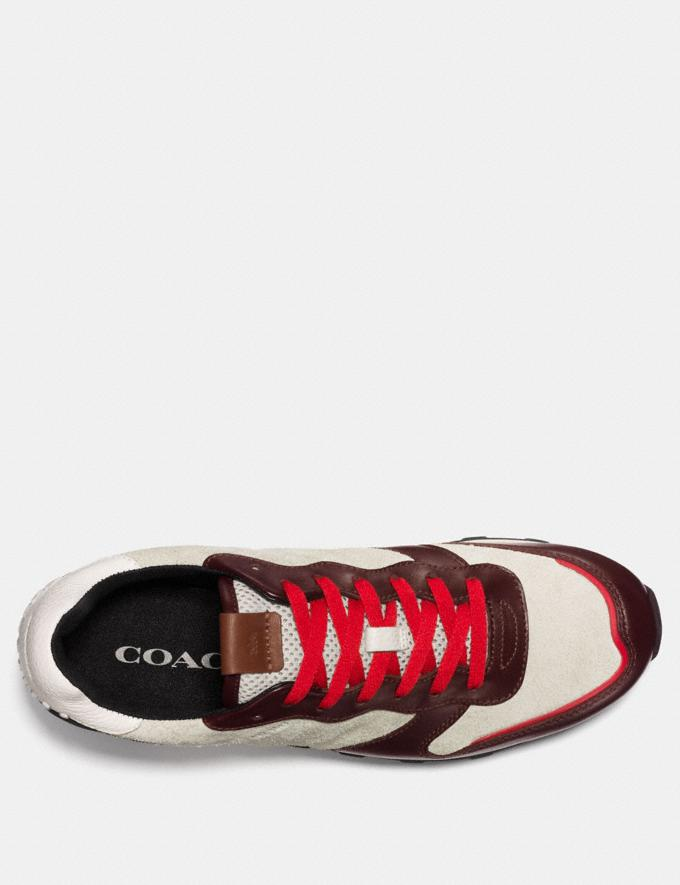 Coach C118 in Hairy Suede and Leather Currant/Chalk/Black Men Shoes Sneakers Alternate View 2