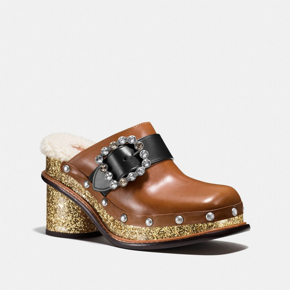 Coach Clog Slide With Glitter Heel