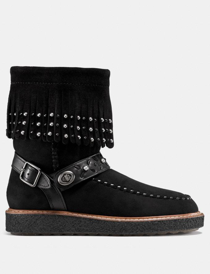 Coach Roccasin Shearling Boot Black  Alternate View 1