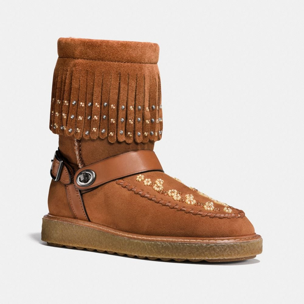 Coach Roccasin Shearling Boot With Beads