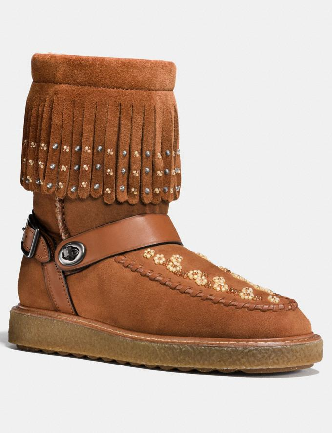 Coach Roccasin Shearling Boot With Beads Saddle