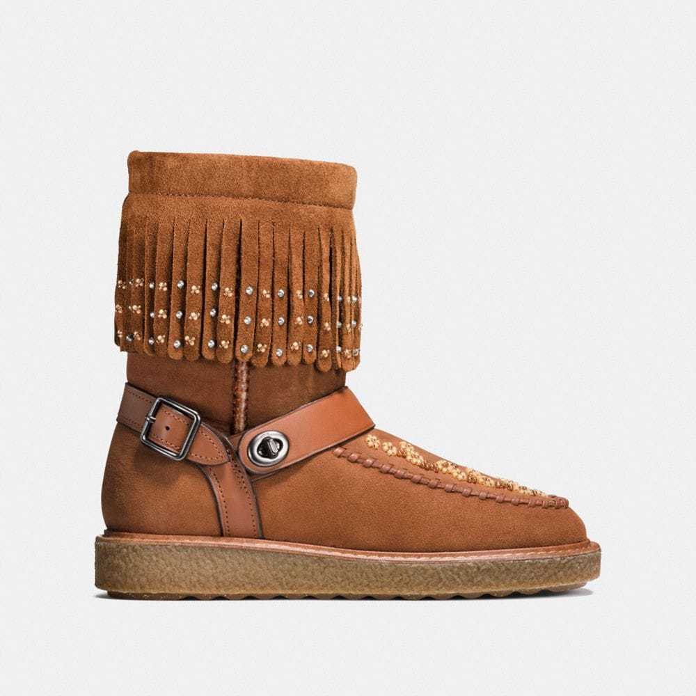 Coach Roccasin Shearling Boot With Beads Alternate View 1