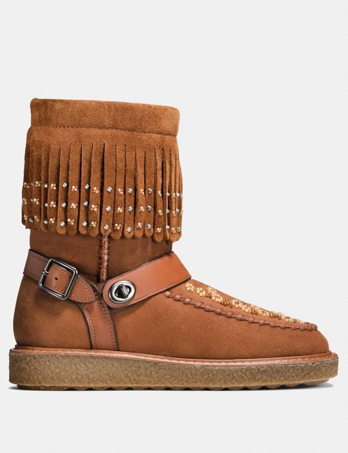 Coach Roccasin Shearling Boot With Beads Saddle  Alternate View 1