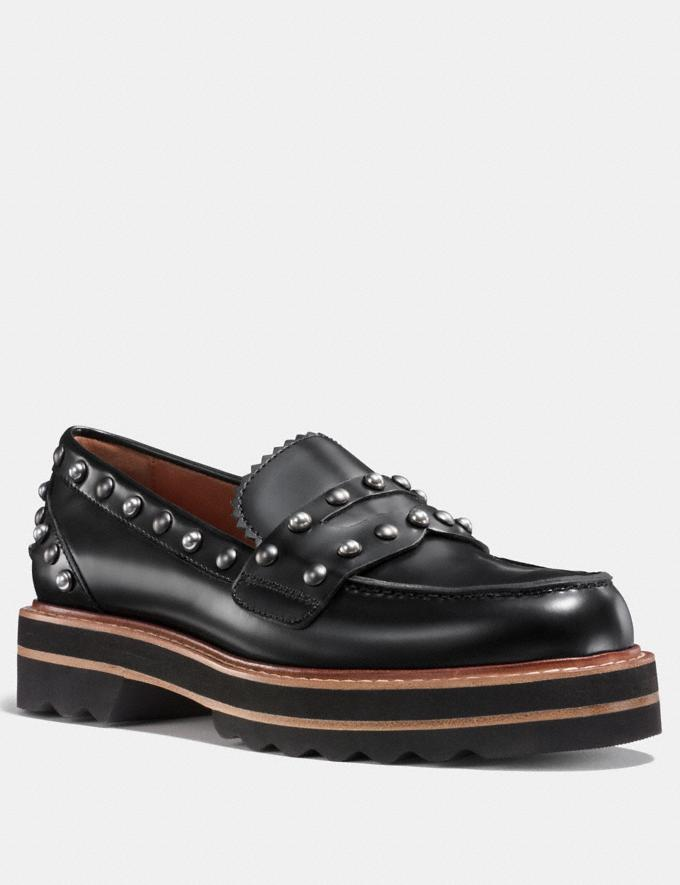 Coach Lenox Loafer With Rivets Black Women Shoes Flats
