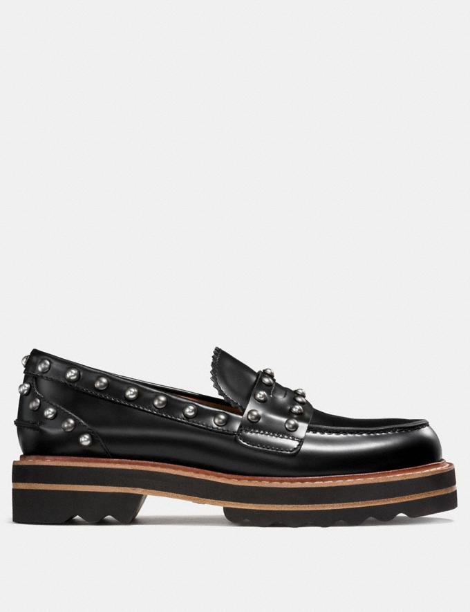 Coach Lenox Loafer With Rivets Black Women Shoes Flats Alternate View 1