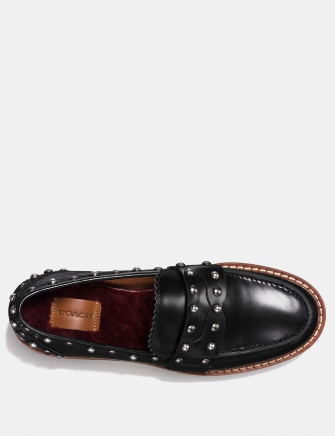 Coach Lenox Loafer With Rivets Black Women Shoes Flats Alternate View 2