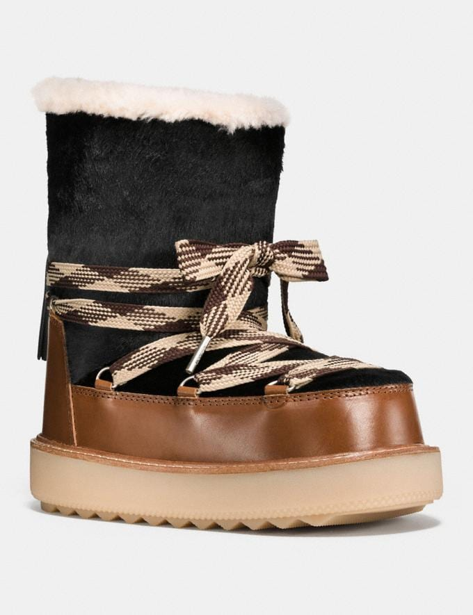 Coach Shearling Bootie in Haircalf Black/Burnt Sienna Friends & Family Sale Women's Shoes