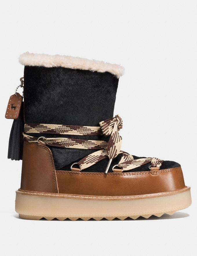 Coach Shearling Bootie in Haircalf Black/Burnt Sienna Friends & Family Sale Women's Shoes Alternate View 1