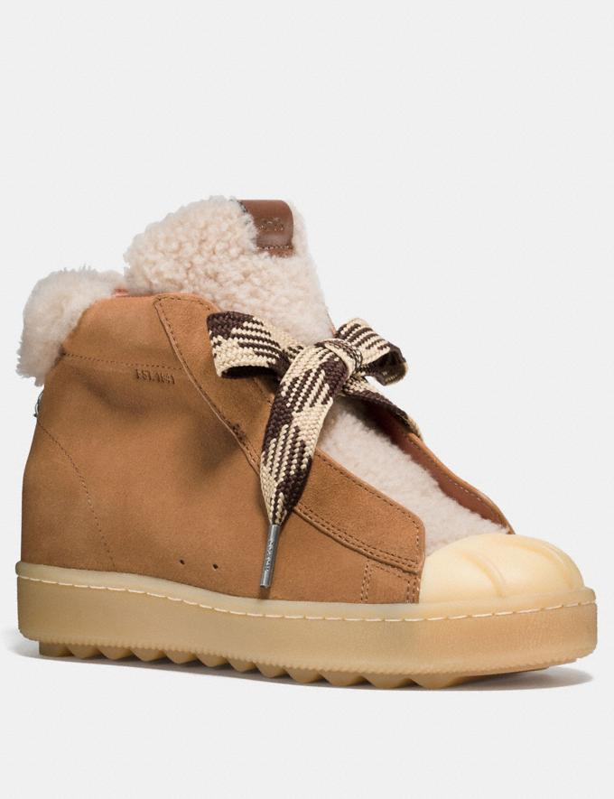 Coach High Top Hiker With Shearling Camel/Natural Women Shoes Sneakers
