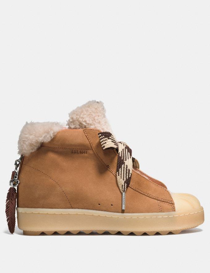 Coach High Top Hiker With Shearling Camel/Natural Women Shoes Sneakers Alternate View 1