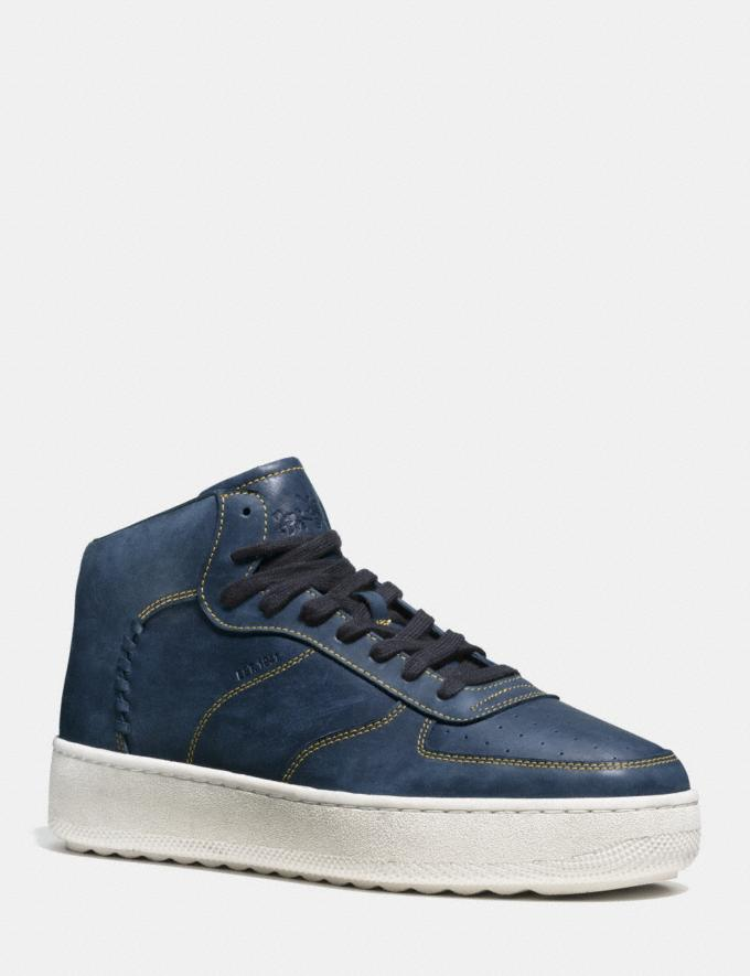 Coach Contrast Stitch C210 High Top Sneaker Navy Men Shoes Sneakers